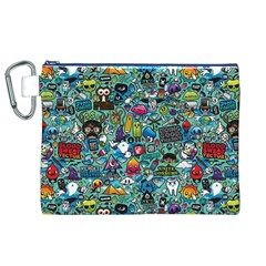 Colorful Drawings Pattern Canvas Cosmetic Bag (xl)
