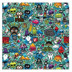 Colorful Drawings Pattern Large Satin Scarf (Square)