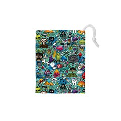 Colorful Drawings Pattern Drawstring Pouches (XS)