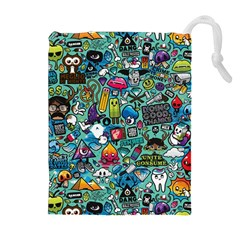 Colorful Drawings Pattern Drawstring Pouches (Extra Large)