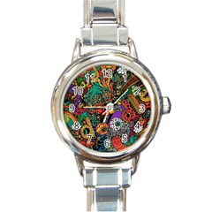 Monsters Colorful Doodle Round Italian Charm Watch