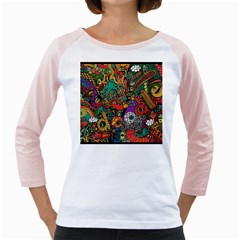 Monsters Colorful Doodle Girly Raglans