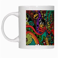 Monsters Colorful Doodle White Mugs