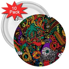 Monsters Colorful Doodle 3  Buttons (10 pack)