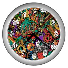 Monsters Colorful Doodle Wall Clocks (silver)