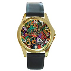 Monsters Colorful Doodle Round Gold Metal Watch