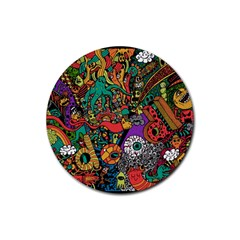Monsters Colorful Doodle Rubber Coaster (round)