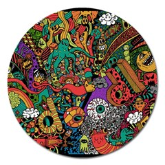 Monsters Colorful Doodle Magnet 5  (round)