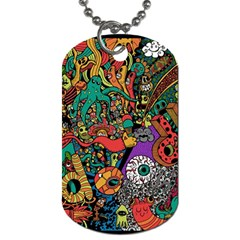 Monsters Colorful Doodle Dog Tag (one Side)