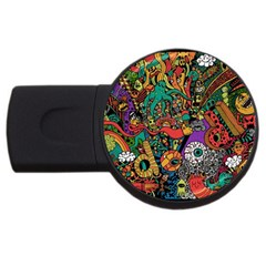 Monsters Colorful Doodle USB Flash Drive Round (1 GB)