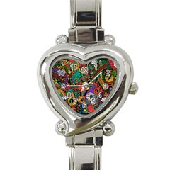 Monsters Colorful Doodle Heart Italian Charm Watch
