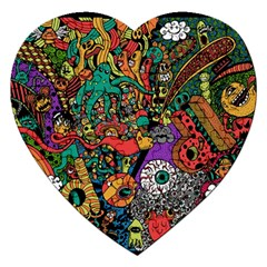 Monsters Colorful Doodle Jigsaw Puzzle (heart)