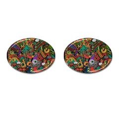 Monsters Colorful Doodle Cufflinks (Oval)