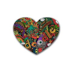 Monsters Colorful Doodle Rubber Coaster (heart)