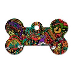 Monsters Colorful Doodle Dog Tag Bone (One Side)
