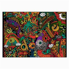 Monsters Colorful Doodle Large Glasses Cloth