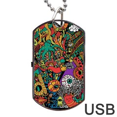 Monsters Colorful Doodle Dog Tag USB Flash (One Side)