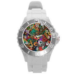 Monsters Colorful Doodle Round Plastic Sport Watch (L)