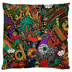 Monsters Colorful Doodle Large Cushion Case (one Side)