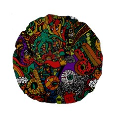 Monsters Colorful Doodle Standard 15  Premium Round Cushions