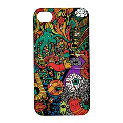 Monsters Colorful Doodle Apple Iphone 4/4s Hardshell Case With Stand