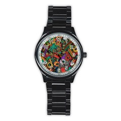 Monsters Colorful Doodle Stainless Steel Round Watch