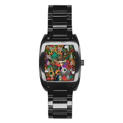 Monsters Colorful Doodle Stainless Steel Barrel Watch