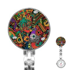 Monsters Colorful Doodle Stainless Steel Nurses Watch