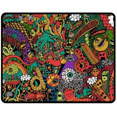 Monsters Colorful Doodle Double Sided Fleece Blanket (Medium)