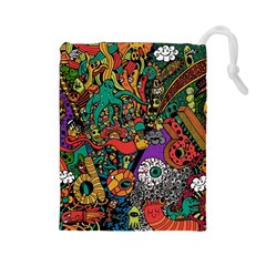 Monsters Colorful Doodle Drawstring Pouches (large)