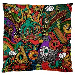 Monsters Colorful Doodle Large Flano Cushion Case (one Side)