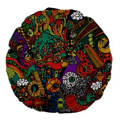 Monsters Colorful Doodle Large 18  Premium Flano Round Cushions