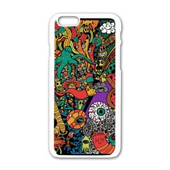 Monsters Colorful Doodle Apple Iphone 6/6s White Enamel Case