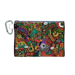 Monsters Colorful Doodle Canvas Cosmetic Bag (M)