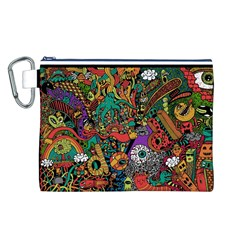 Monsters Colorful Doodle Canvas Cosmetic Bag (L)
