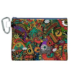 Monsters Colorful Doodle Canvas Cosmetic Bag (xl)