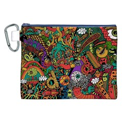 Monsters Colorful Doodle Canvas Cosmetic Bag (xxl)