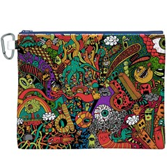 Monsters Colorful Doodle Canvas Cosmetic Bag (XXXL)