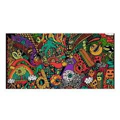 Monsters Colorful Doodle Satin Shawl