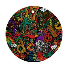 Monsters Colorful Doodle Ornament (round)