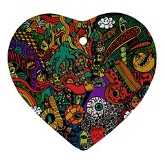 Monsters Colorful Doodle Ornament (heart)