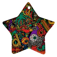 Monsters Colorful Doodle Ornament (star)