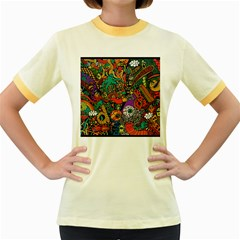 Monsters Colorful Doodle Women s Fitted Ringer T Shirts