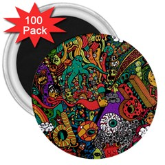 Monsters Colorful Doodle 3  Magnets (100 pack)