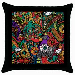 Monsters Colorful Doodle Throw Pillow Case (black)