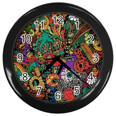 Monsters Colorful Doodle Wall Clocks (black)