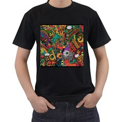 Monsters Colorful Doodle Men s T Shirt (black) (two Sided)
