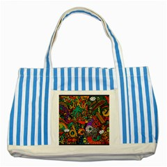 Monsters Colorful Doodle Striped Blue Tote Bag