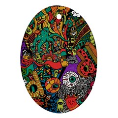 Monsters Colorful Doodle Oval Ornament (Two Sides)