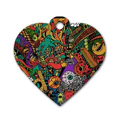 Monsters Colorful Doodle Dog Tag Heart (One Side)